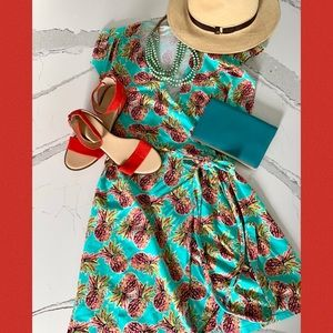 All For Color Pineapple Print Wrap Dress L
